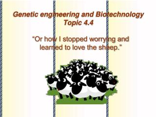 Genetic engineering and Biotechnology Topic 4.4