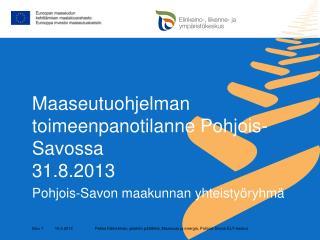 Maaseutuohjelman toimeenpanotilanne Pohjois-Savossa 31.8.2013