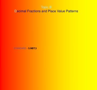 Topic B D ecimal Fractions and Place Value Patterns