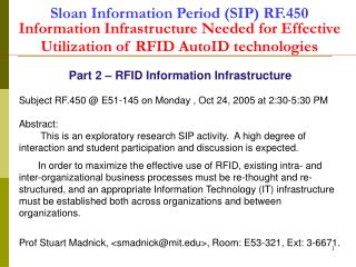 Part 2 – RFID Information Infrastructure
