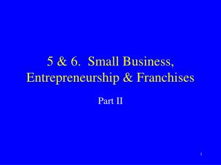 5 & 6.  Small Business, Entrepreneurship & Franchises