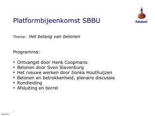 Platformbijeenkomst SBBU