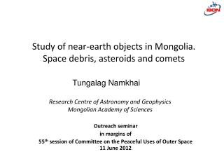 Research Centre of Astronomy and Geophysics Mongolian Academy of Sciences