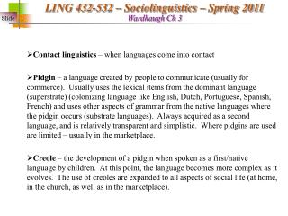 Contact linguistics – when languages come into contact