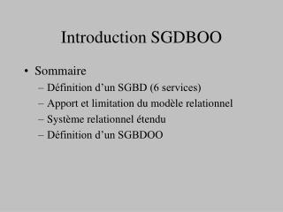 Introduction SGDBOO