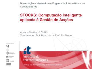 STOCKS: Computação Inteligente aplicada à Gestão de Acções