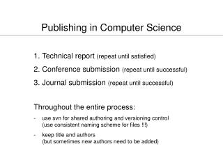 Publishing in Computer Science