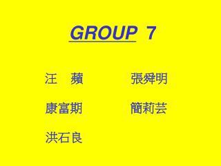 GROUP   7 汪 蘋 張舜明 康富期 簡莉芸 洪石良