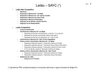 Leilão – SAYC (*)