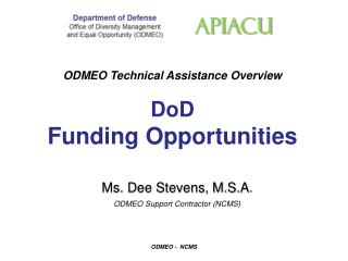 ODMEO Technical Assistance Overview DoD Funding Opportunities
