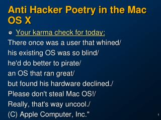 Anti Hacker Poetry in the Mac OS X