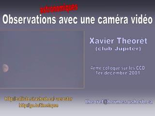 Observations avec une caméra vidéo