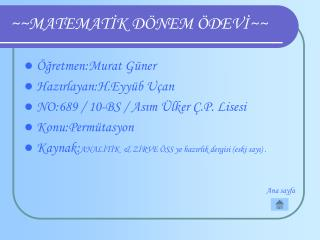 ~~MATEMATİK DÖNEM ÖDEVİ~~