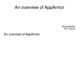 An overview of AppArmor