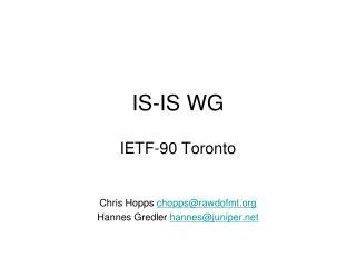 IS-IS WG