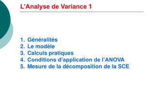 L'Analyse de Variance 1