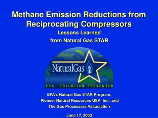 Methane Emission Reductions from Reciprocating Compressors