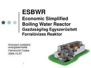 ESBWR Economic Simplified Boiling Water Reactor Gazdaságilag Egyszerűsített Forralóvizes Reaktor