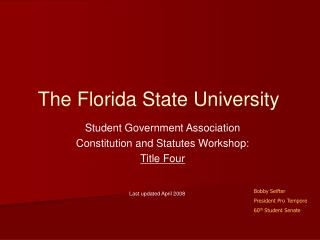Student Government Association Constitution and Statutes Workshop: Title Four