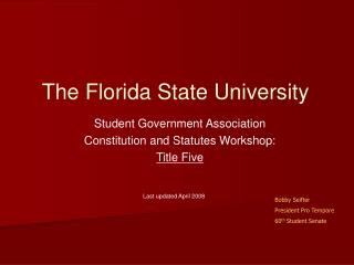 Student Government Association Constitution and Statutes Workshop: Title Five