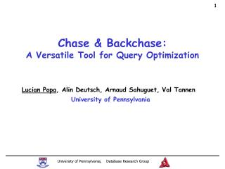 Chase & Backchase: A Versatile Tool for Query Optimization