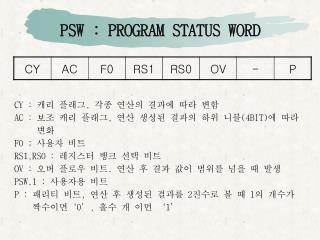 PSW : PROGRAM STATUS WORD