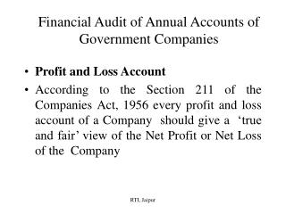 Financial Audit of Annual Accounts of Government Companies