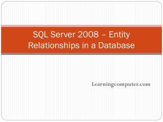 SQL Server 2008 – Entity Relationships in a Database