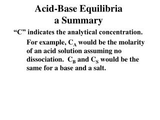 Acid-Base Equilibria a Summary