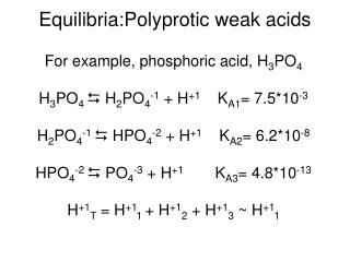 Equilibria:Polyprotic weak acids