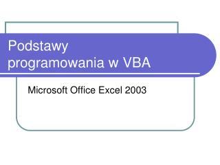 Podstawy programowania w VBA