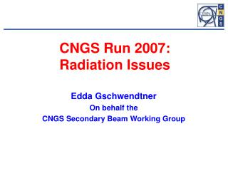 CNGS Run 2007: Radiation Issues