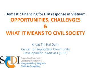 Khuat Thi Hai Oanh Center for Supporting Community Development Iniatiavies (SCDI)