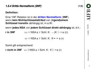 1.5.4 Dritte Normalform (3NF)  (1|5)