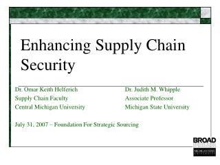 Enhancing Supply Chain Security