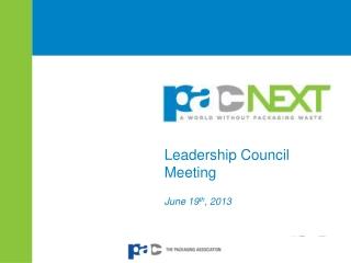 Leadership Council Meeting June 19 th , 2013