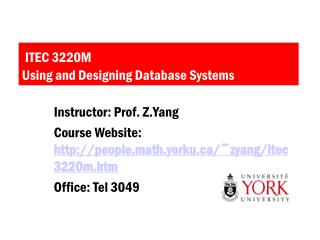ITEC 3220M Using and Designing Database Systems