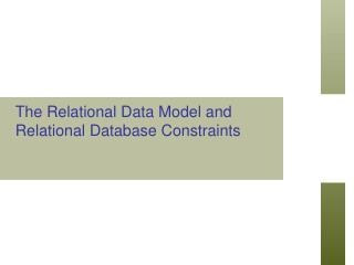 The Relational Data Model and Relational Database Constraints