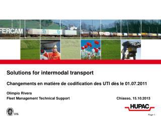 Solutions for intermodal transport
