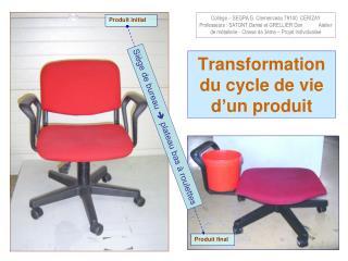 Transformation du cycle de vie d'un produit