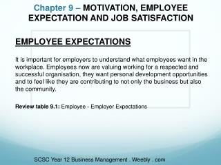 Chapter 9 –  MOTIVATION, EMPLOYEE EXPECTATION AND JOB SATISFACTION