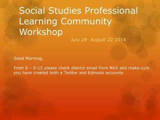 Social Studies Professional Learning Community Workshop