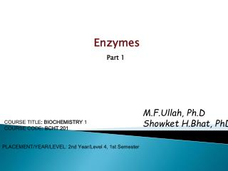 Enzymes Part 1