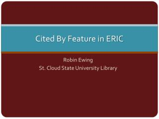 Cited By Feature in ERIC