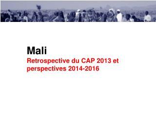 Mali Retrospective du CAP 2013 et perspectives 2014-2016