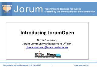 Introducing JorumOpen