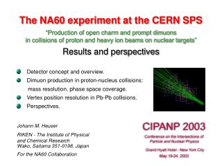 """The NA60 experiment at the CERN SPS """"Production of open charm and prompt dimuons"""