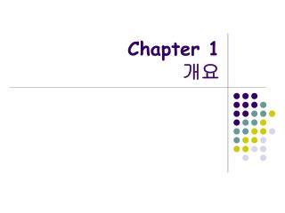 Chapter 1 개요