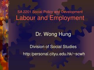 SA 2201 Social Policy and Development Labour and Employment