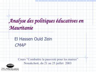 Analyse des politiques éducatives en Mauritanie